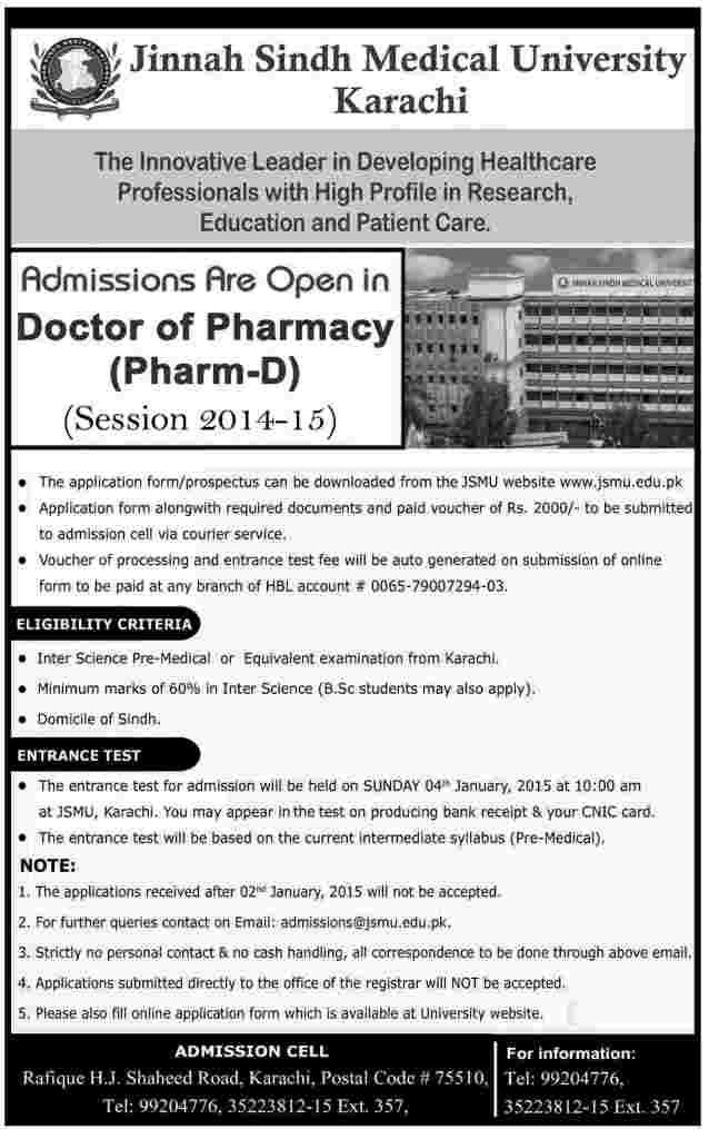Jinnah medical college d pharm admission