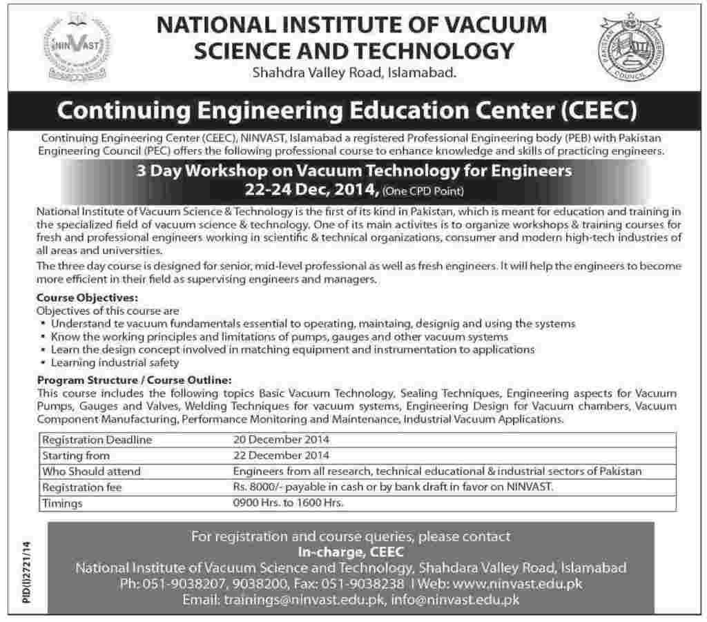 3 DayWorkshop on Vacuum Technology
